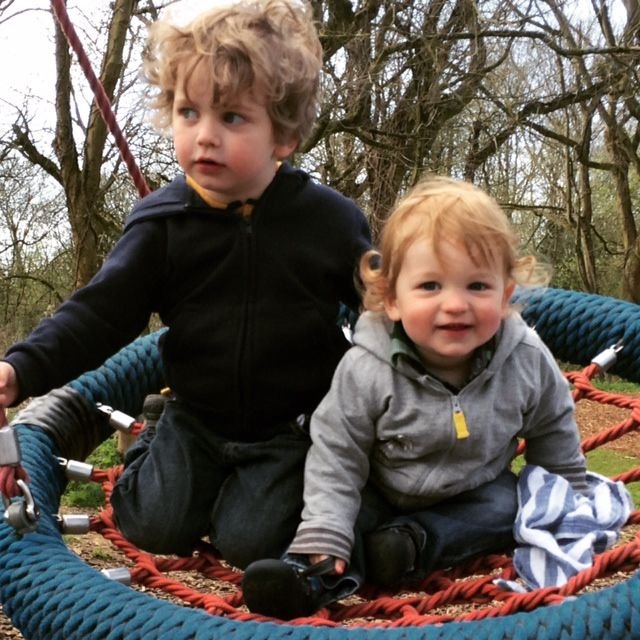 Brothers on a swing